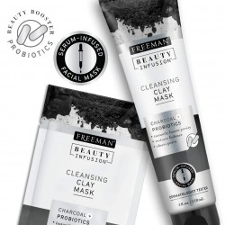 FREEMAN BEAUTY cleansing clay mask charcoal + probiotics + serum 118 ml