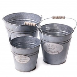 Galvanized bucket decoration 3 pcs set