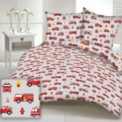 FIREFIGHTER cotton bedding with children's motif - gray